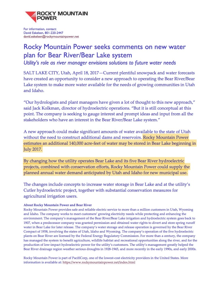 Rocky Mountain Power Wants In On The Bear River Water Grab Bear